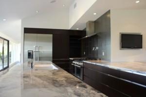 A more modern kitchen design by Diane Barber Designs.