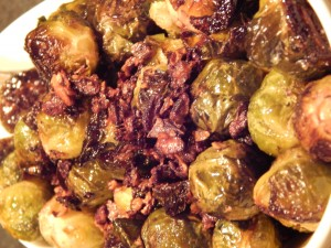 Finished roasted Brussels sprouts with pecans.