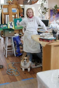 Louise Mellon in her studio with Ruffles and Cricket. Photo by Booth Malone