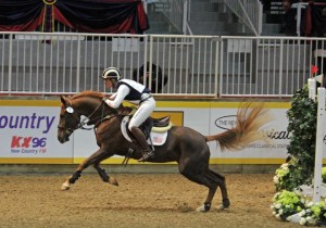 "Photographer Shelley Higgins couldn't resist including a photo of the diminutive Forrest Nymph, ridden by U.S. eventer Sinead Halpin, Oldwick, New Jersey, and owned by Beth Davidson, in the Horseware Ireland Indoor Eventing Challenge. ""Forrest Nymph was only 14.3 hands, but what a trier,"" says Shelley. Photo by Shelley Higgins/MacMillan Photography"