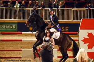 3-Jonathon Miller's mount Calvin Klein could hardly control his enthusiasm at Miller being named Leading Canadian Rider at the2014 Royal.