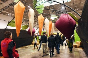 """37-""""The Amazing Food Journey"""" educational exhibit offered kids and their parents a look underground at simulated growing root vegetables (carrots, beets, parsnips and turnips)."""