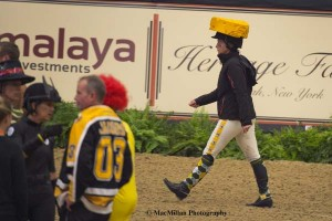 4)The best jumper riders in the world donned costumes to vie for a share of $45K.  Beezie Madden, from Wisconsin, Sported a Green Bay uniform and a cheesehead wedge