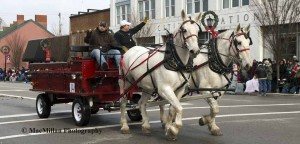 6-Bob and Angel Kilburn, Kilburn Farm, Morrow, Ohio, drove their two Percherons hitched to a festive red wagon.