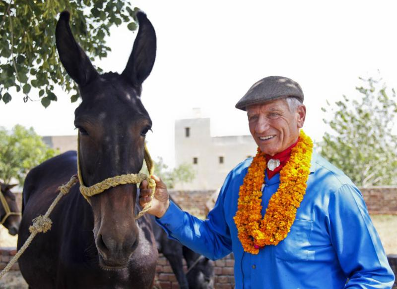 Monty Roberts in India with the Brooke. (Photo Courtesy of www.BrookeUSA.org)