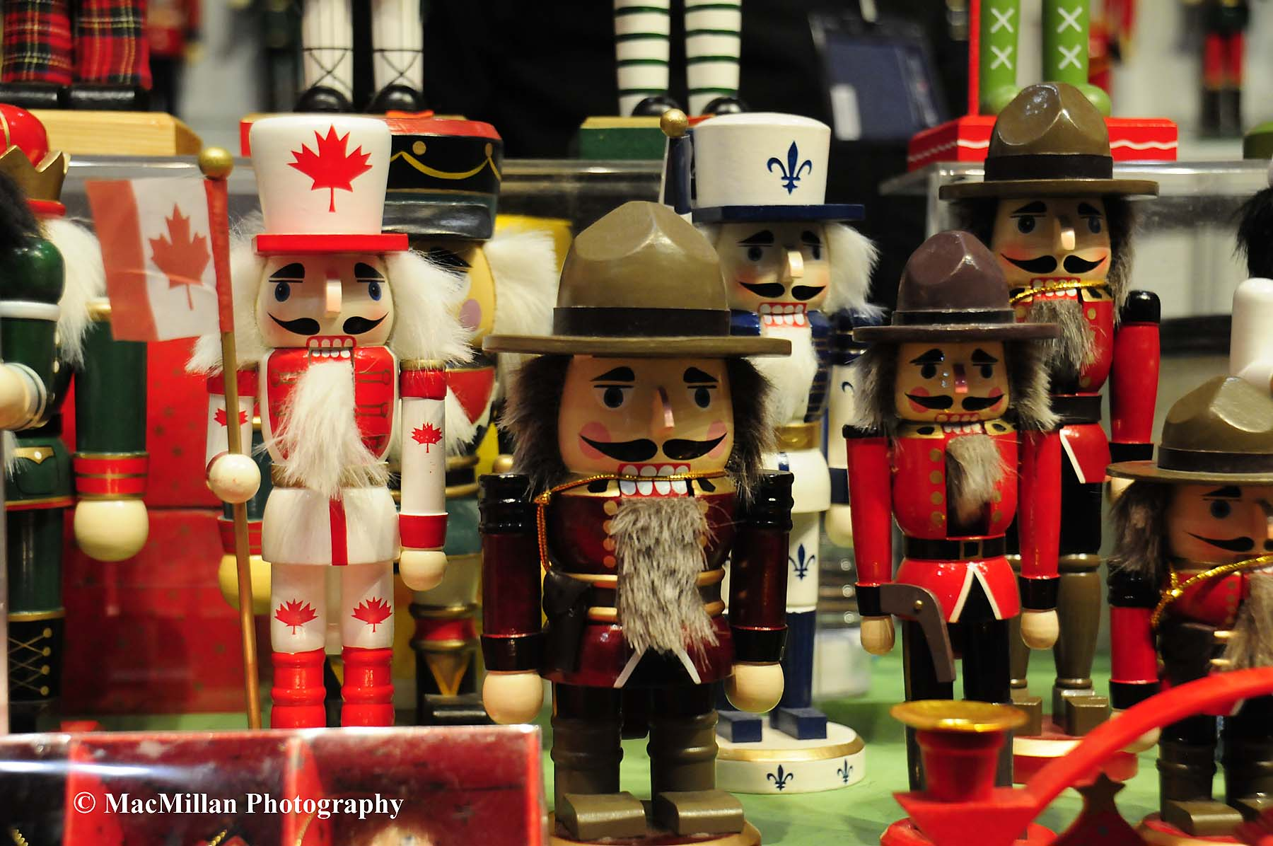 Photo 52 – The Royal Winter Fair shopping opportunities are seemingly endless. This booth featuring Canadian Mountie nutcrackers that seem to smile as people walk by.Photo by Sarah Miller/MacMillan Photography