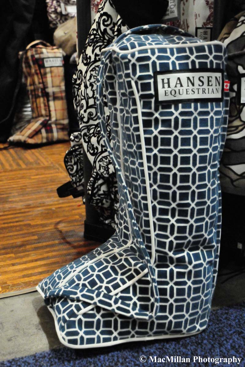 Photo 55 – A beautiful boot bag on display in the Hansen Equestrian booth (www.hansenequestrian.ca). Owner/designer Sarah Hansen came up with the idea to use beautiful yet durable fabrics to make stable essentials such as saddle covers, boot bags, saddle bags and quarter sheets while still at university. Photo by Kim MacMillan/MacMillan Photography