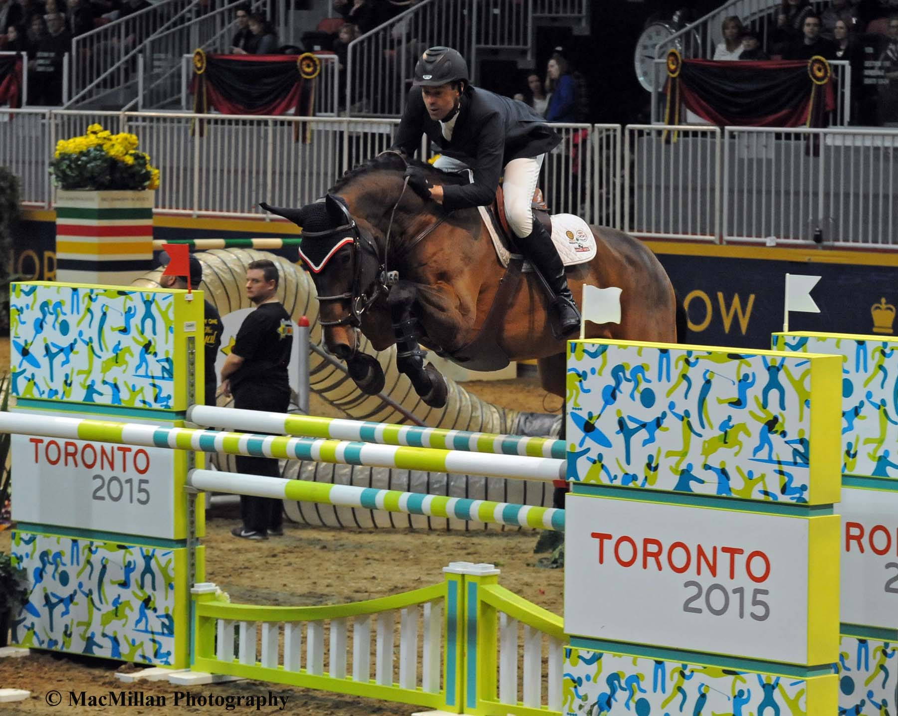 Photo 7 – The Royal Winter Fair Leading Canadian Rider was Jonathan Millar shown here on Baranus in the $15,000 Canine/Equine Challenge Class where they placed fifth. Photo by Sarah Miller/MacMillan Photography