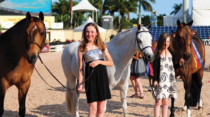 Circuit Parade of Champions. Small, Medium, and Large Pony Hunters:  take your pick, they are all owned Dr. Betsee Parker. (L-R) Large Pony (For The Laughter), Meredith Darst, Small (Elation), Daisy Farish and Medium (Enchanted Forest).  Maddy was Overall Hunter Rider. Photo by Emily Allongo
