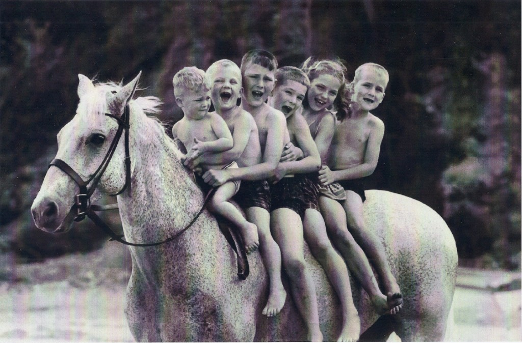 The de Leyer kids grew up with Snowman, who retired from the show ring in 1962. Photo from the Private Collection of Harry de Leyer
