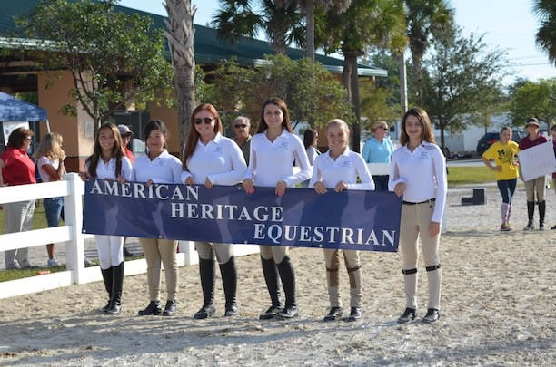 The American Heritage Equestrian Team shows off their school pride at an IEA show. Photo by Cindy Screnci