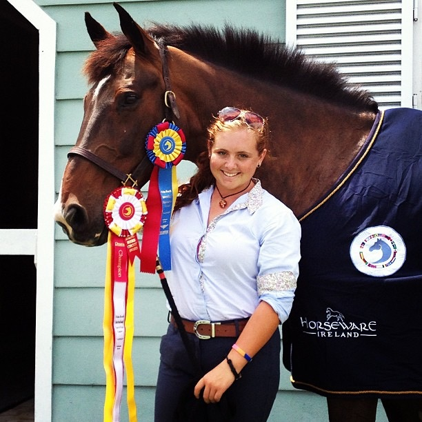 Lia and her Dutch Warmblood jumper Volado show off their success during the Winter Equestrian Festival. Photo by Chazz Freeman
