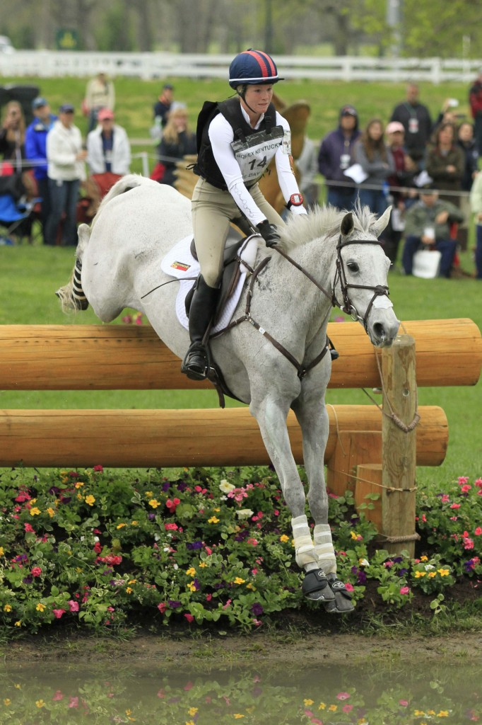 Caitlin and Catch A Star show their cross-country form as they negotiate the second drop fence into the Head of the Lake at Rolex. Photo by Beth Grant - bethgrantphotography.com