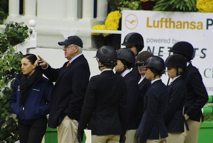 Don coaches equitation students at the Washington International Horse Show. Photo by Kayleigh Spicer