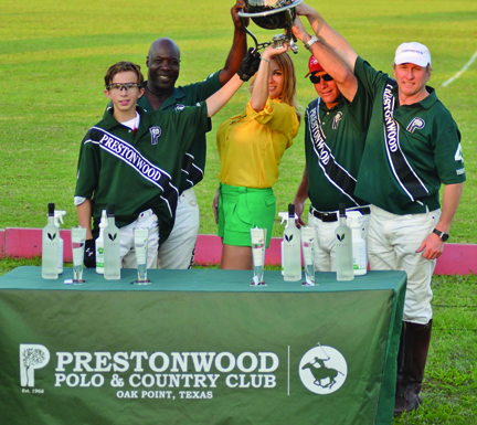 Polo may be for pretty women and dapper gentlemen but at Prestonwood Polo in Oak Point, Texas, it's for casual family fun and their popular tailgate section is the place to be! Pictured following a Prestonwood tournament are Team Prestonwood's winning team with Vaughn Sebastian Miller, Sain Joseph, Brent Mirkitani and Vaughn Miller. Photo by Lisa Ingason