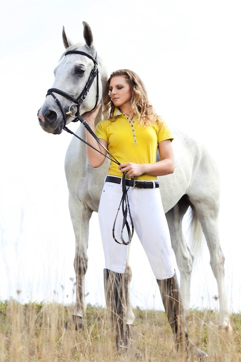 Gersemi polo shirts and breeches can be worn at the barn and around town as well. Photo courtesy of Gersemi