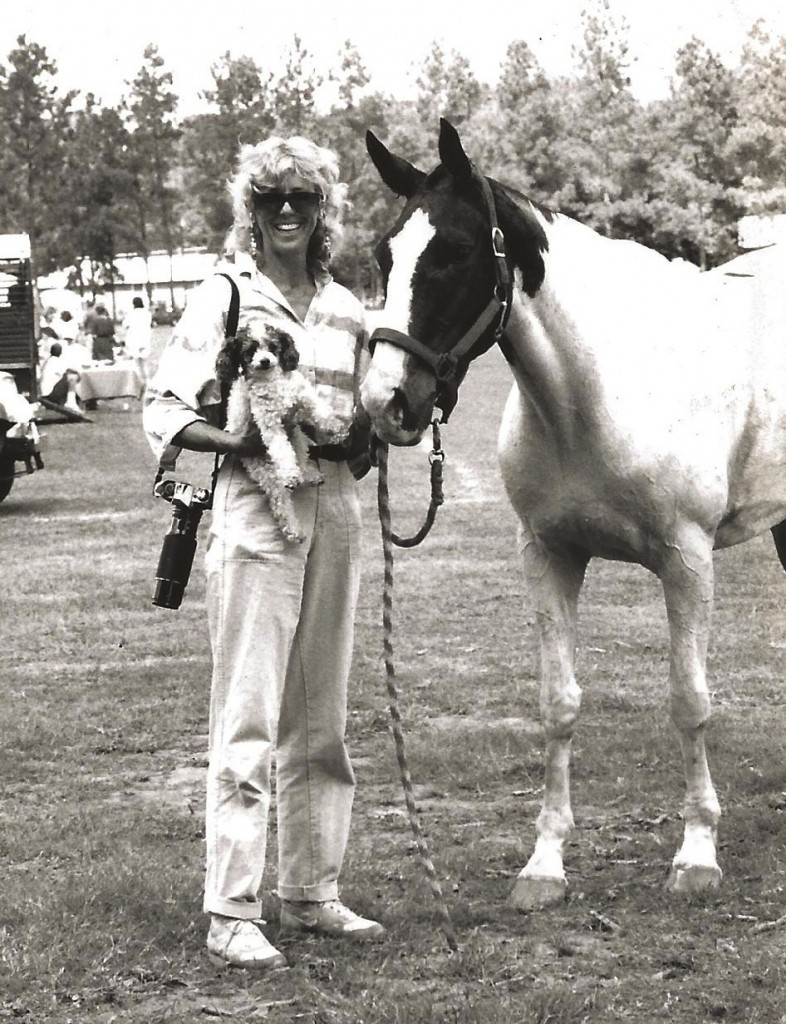 Samantha and her poodle Foto (joined here by polo pony Phantom) traveled the country covering stories for Sidelines.