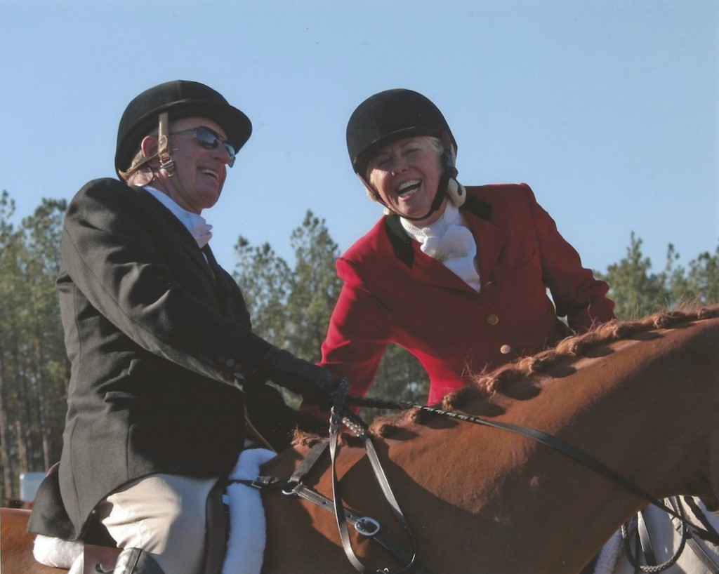 Samantha and her fiancée, Jerry Spitler, hunting with Whiskey Road Fox Hounds in Aiken, South Carolina.