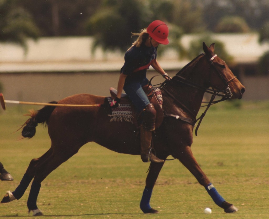 Samantha stepped in at the Delegates Cup at Gulfstream Polo Club at the last minute to fill in for an injured player. Samantha, wearing jeans, competed on a borrowed pony with a borrowed helmet.