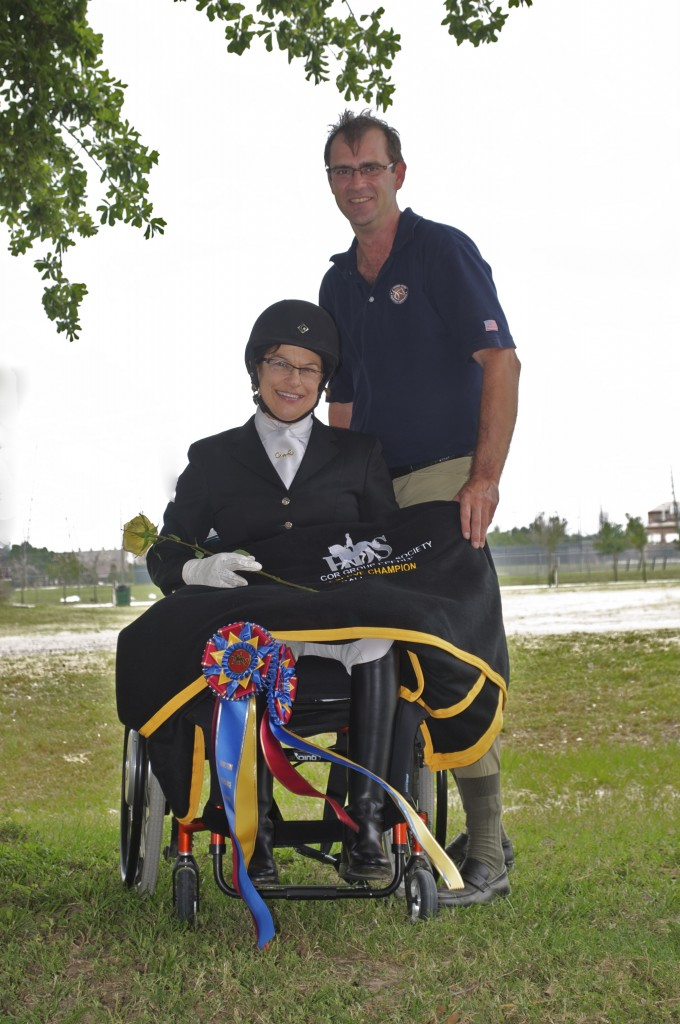 Donna and her London Paralympic coach Wes Dunham in 2012. Donna was the top Grade Ia rider in 2012 for the USA.