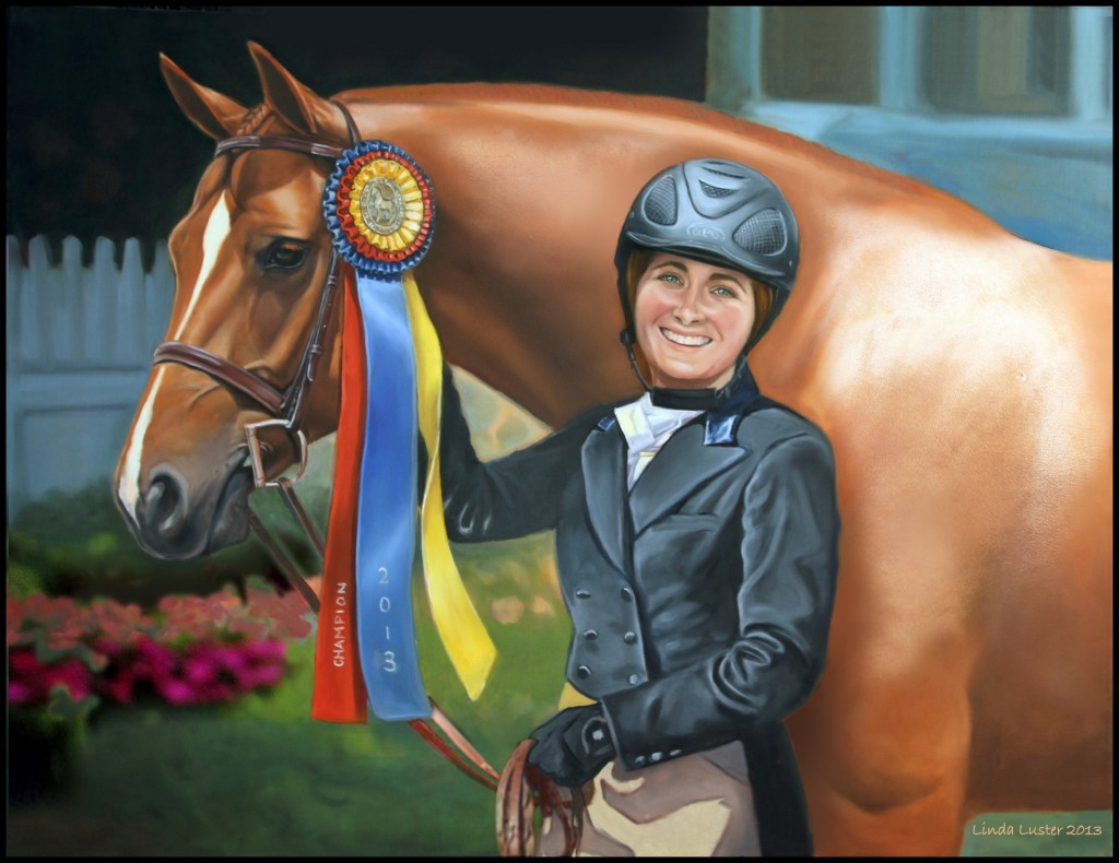 Linda Luster's painting of Way Cool and Tori Colvin. By permission of Dr. Betsee Parker. Photo by Linda Luster