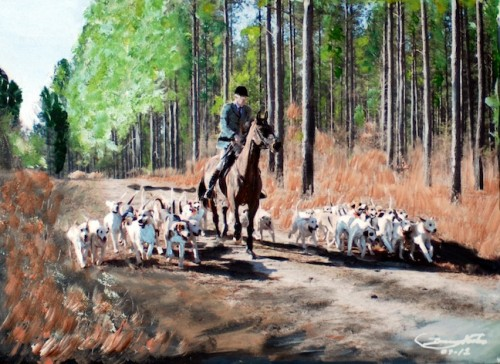Acrylic on stretched canvas - Canadian hounds hunting with the Whiskey Road Foxhounds.