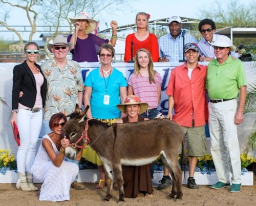 When SVS Sport Horse Sales auctioned off Princess Fiona, the donkey raised a total of $15,000, which directly benefited the foster kids at the Phoenix Dream Center in Phoenix, Arizona.  Photo by Larry Hischer