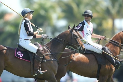 Kerstie and 9-goal player Facundo Pieres, Crab Orchard teammates for the Butler Cup 25-goal finals championship  Photo by David Lominska, www.polographics.com