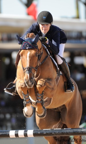 This up-and-coming jumper rider on the international Grand Prix circuit trains with Missy: Catherine Tyree, 19, won her first Grand Prix in only the second Grand Prix of her career with Sandor de la Pomme in August 2013 at the Vermont Summer Festival.   Photo by The Book LLC 2014