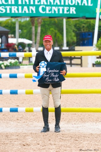 Todd is all smiles after winning the Equestrian Sport Productions Open Stake in Wellington, Florida. Photo by Jack Mancini, www.ManciniPhotos.com