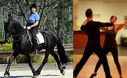 Jane riding Moshi with a side-by-side comparison of Jane dancing. The lateral leg pairs are identical.