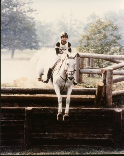 "Gray and Kim jumping the Lexington Bank during the filming of the movie, Sylvester. ""The movie was shot during the summer of 1984, and I was asked to do the double work for Melissa Gilbert for the filming done at the Kentucky Horse Park,"" Kim said. ""Wherever you don't see Melissa's face, it's me. Gray did all the shots where the cameraman hid inside the jump and filmed the horse going over. Gray was so careful in those instances!"" Photo by Mary Phelps"