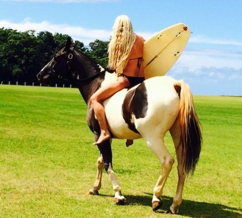 Surfing and riding – Kerstie's two passions.