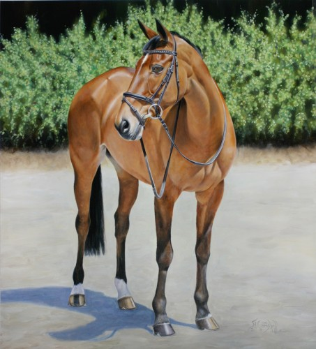 Artist Sharon Campbell painted a portrait of Connaught, Bruce's three-day eventing horse that was on the 2008 Olympic Three-Day team and ridden by Phillip Dutton. Photo courtesy of Sharon Campbell, sharoncampbell.com