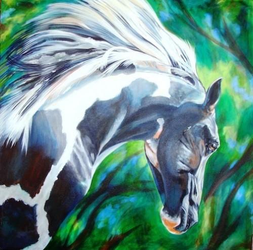 """""""El Pintado"""" – acrylic on gallery wrap canvas – 3 x 3"""