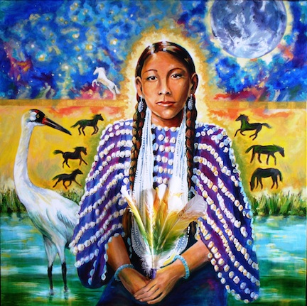 """Gives Praise"" — acrylic on gallery wrap canvas, 3 x 3 — from the ""13 Original Clan Mothers"" series of Native American matriarchs, based on the book by Jamie Sams."