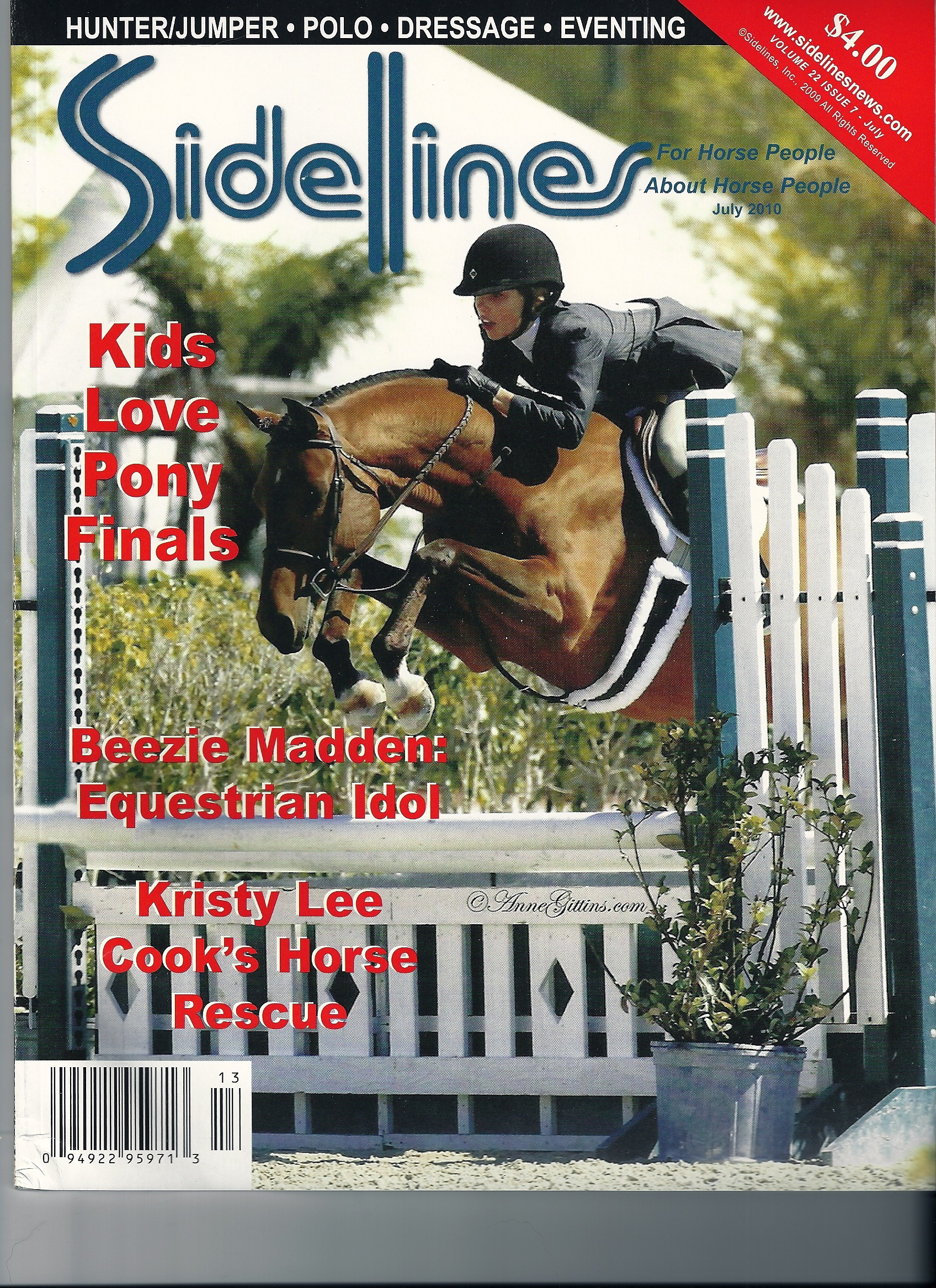 Olivia appeared on the cover of Sidelines in 2010.