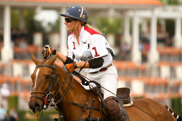 Kerstie playing on Field One at The International Polo Club. (Photo by Sheryel Aschfort, The Polo Paparazzi)