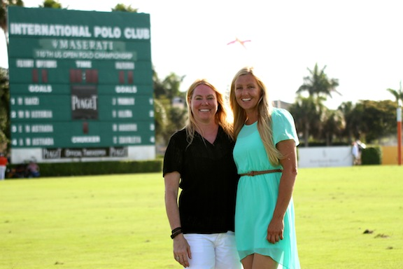 Kerstie with Felicity Briggans, the owner of Mane Goal Polo apparel company, at the International Polo Club. (Photo by Sheryel Aschfort, The Polo Paparazzi)