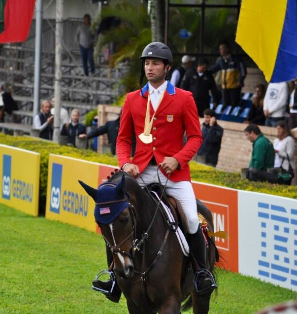 Derek and Cyraneiky in the awards ceremony as part of the U.S. Nations Cup Team at the 2013 Porto Alegre CSIO**** in Brazil. (Photo courtesy of Split Rock Jumping Tour)