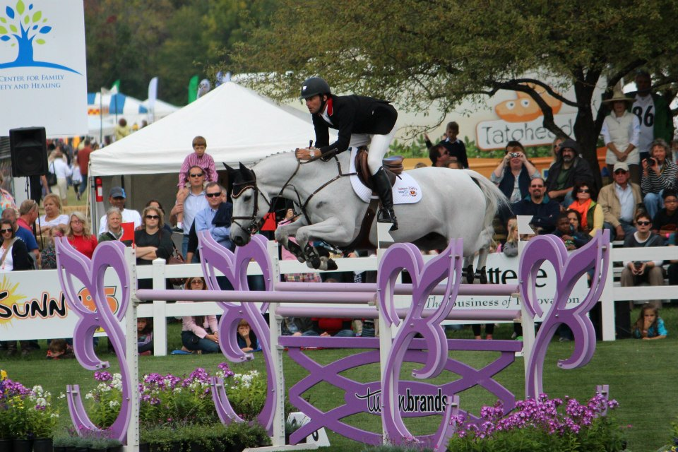 Derek on course at the New Albany Classic Horse Show. (Photo courtesy of Split Rock Jumping Tour)