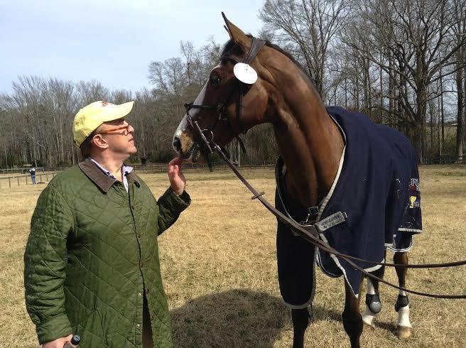 Fernanda's husbsand, Kirk Henckels, with Boyd Martin's 2012 Olympic horse Otis. (Photo courtesy of Fernanda Kellogg)