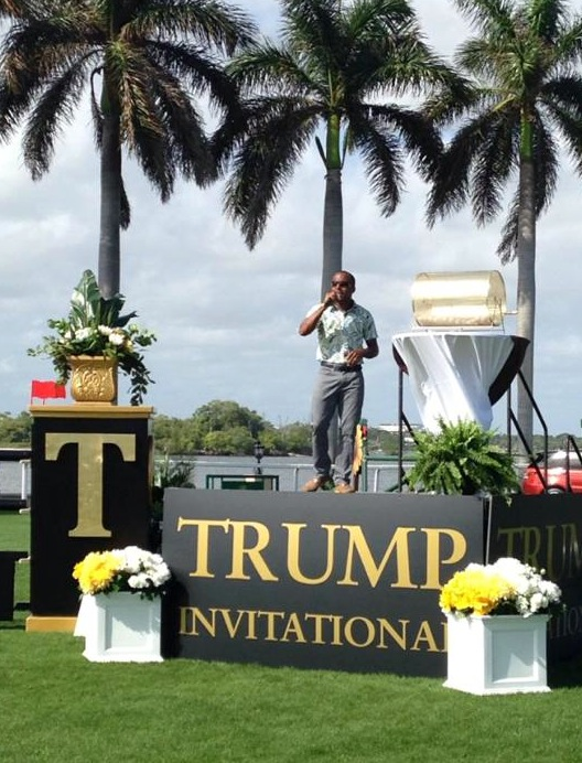 Ki-Juan singing the National Anthem at the Trump Invitational. (Photo courtesy of Ki-Juan Minors)