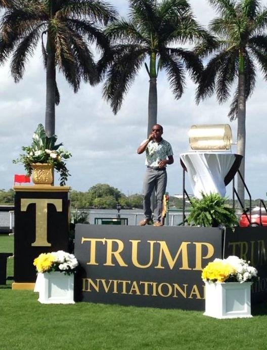 Ki-Juan singing the National Anthem at the Trump Invitational. (Photo courtesy of Ki-Juan Minors)