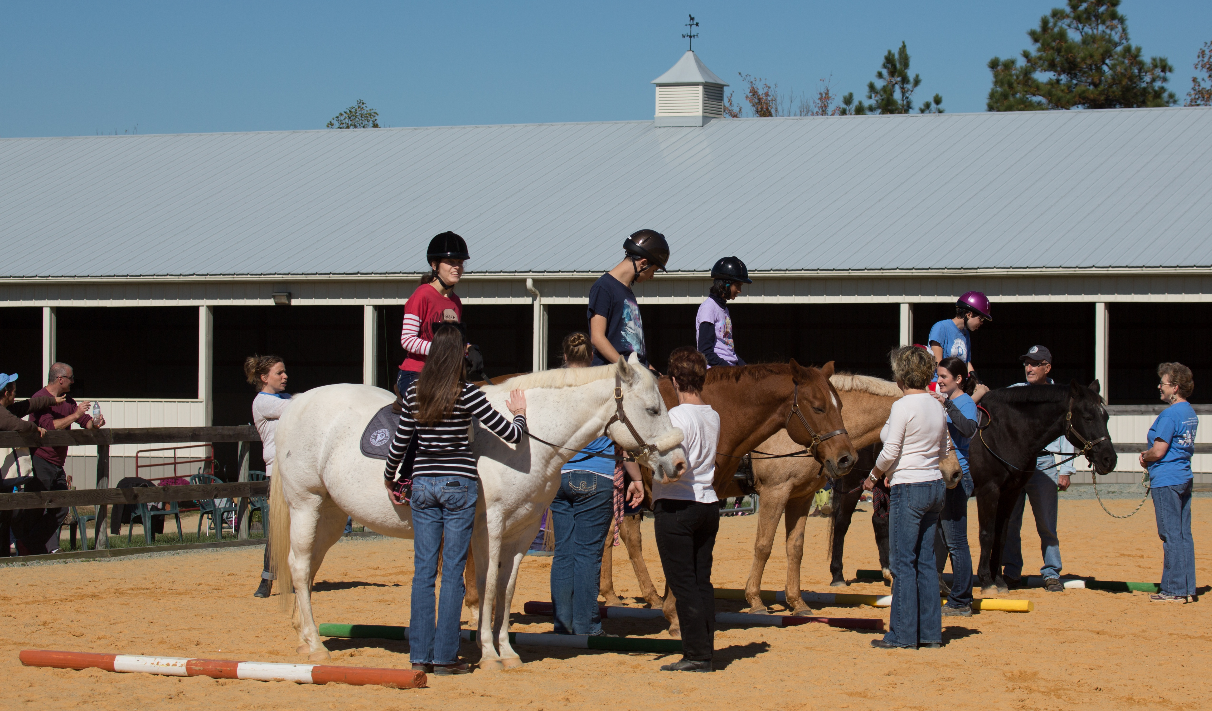 Eileen, Jackson, Laila and Colleen patiently awaiting judging results at NCTRC's Fall Festival and Horse Show. (Photo by Jonathan Van Ark)