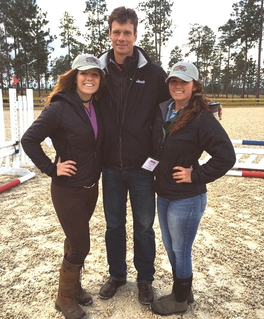 William stands head and shoulders above USC Aiken eventers Sam Baker, left, and Keyanna Farken during a clinic at Stable View Farm in Aiken, South Carolina. (Photo by Marissa Collins)