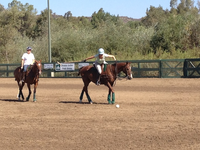 Taking a shot at polo, Susan celebrates a small victory of making contact with the ball — from a walk. (Photos courtesy of Susan Friedland-Smith)