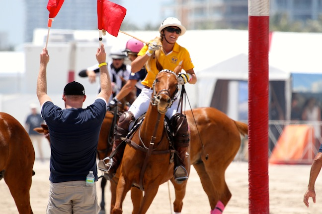 Kerstie in the 10th Miami Beach Polo World Cup. (Photo by Sheryel Aschfort, The Polo Papparazzi)
