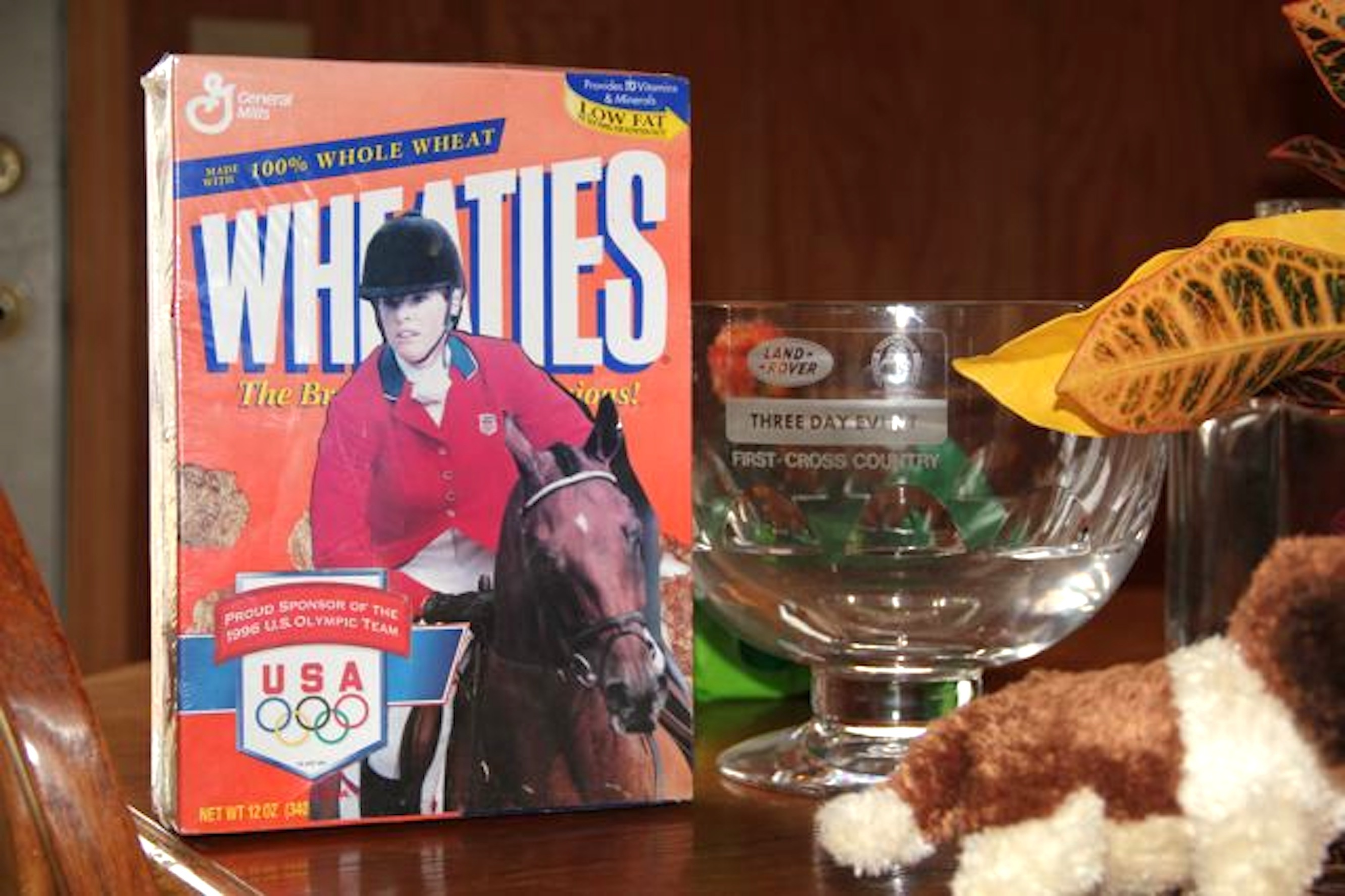 "Dorothy and Molokai: ""The truth is that we were never featured on the Wheaties box,"" stated Dorothy. ""Diana Rich, my really good friend and an event rider from Ohio, put it all together, using a real box with the Olympic symbol on it. She cut out and pasted our photo on there, made it look real, then shrink-wrapped it for me."" (Photo courtesy of EventingNation.com and Samantha L. Clark)"