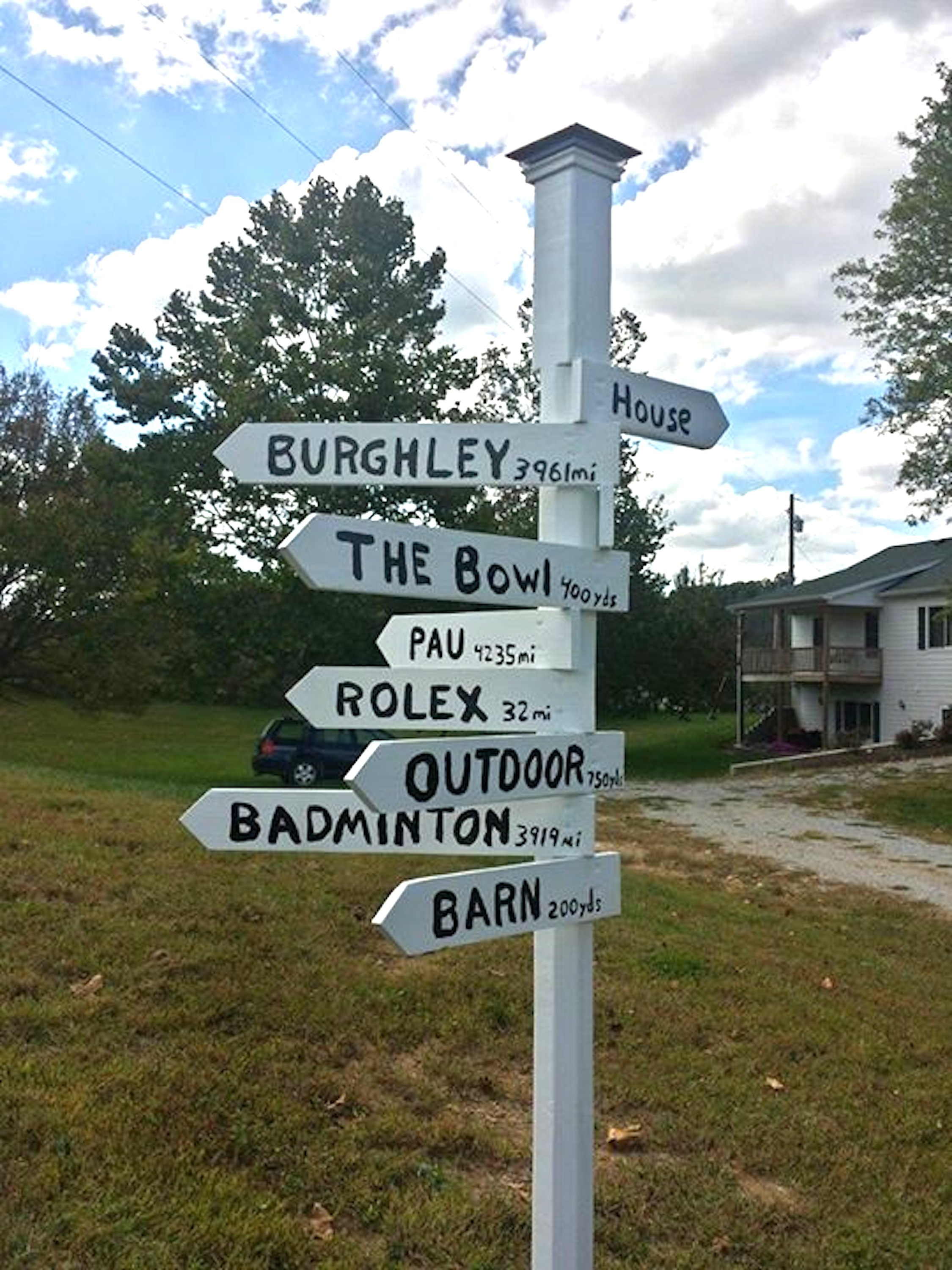 The new signpost at Sycamore Hill Farm says it all. Dorothy Crowell loves to teach and knows exactly what it takes to travel those distances to Rolex, Burghley, Badminton, etc. (Photo by John Crowell)